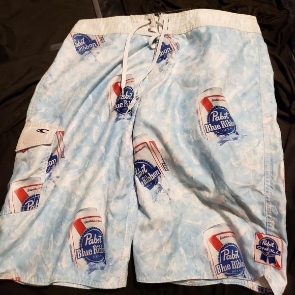 51eb0a42b3 O'Neill Swim   Mens Pabst Blue Ribbon Oneil Trunks Sz 32   Poshmark